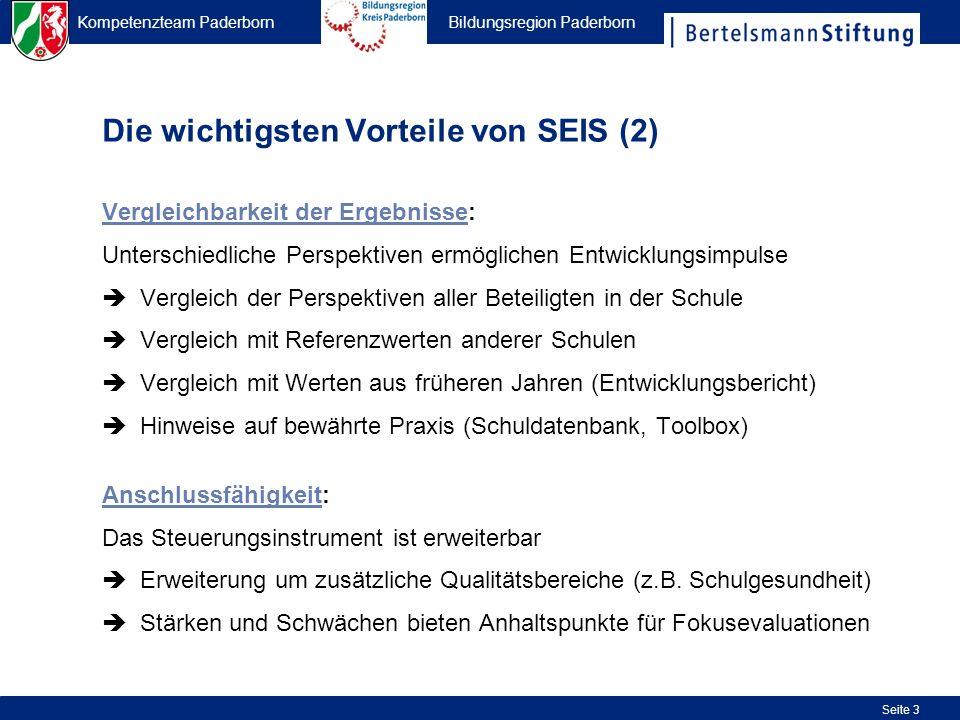 Kompetenzteam Paderborn Bildungsregion Paderborn Seite 34 Zuordnung zum Qualitätsrahmen (Poster) Abgekürzte Antwortskala (++ = stimme voll zu; + = stimme eher zu; - siehe Legende am Ende der Einleitung) Standardfragetext (für alle Befragungsgruppen gleich; für den exakten Text siehe Daten der einz.