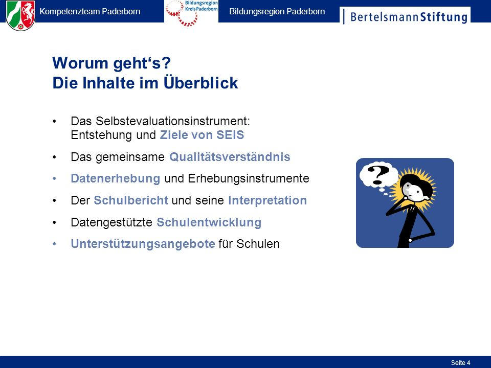 Kompetenzteam Paderborn Bildungsregion Paderborn Seite 35 Nummerierung der Kriterien Befragungsgruppen (minimal 3, maximal 6) Zustimmungswert (++ & +) der einzelnen Befragungsgruppen zu einem Kriterium Relevanz des Kriteriums für die jeweilige Zielgruppe xx xx x x x xx xxxx x x x Bezeichnung der Kriterien