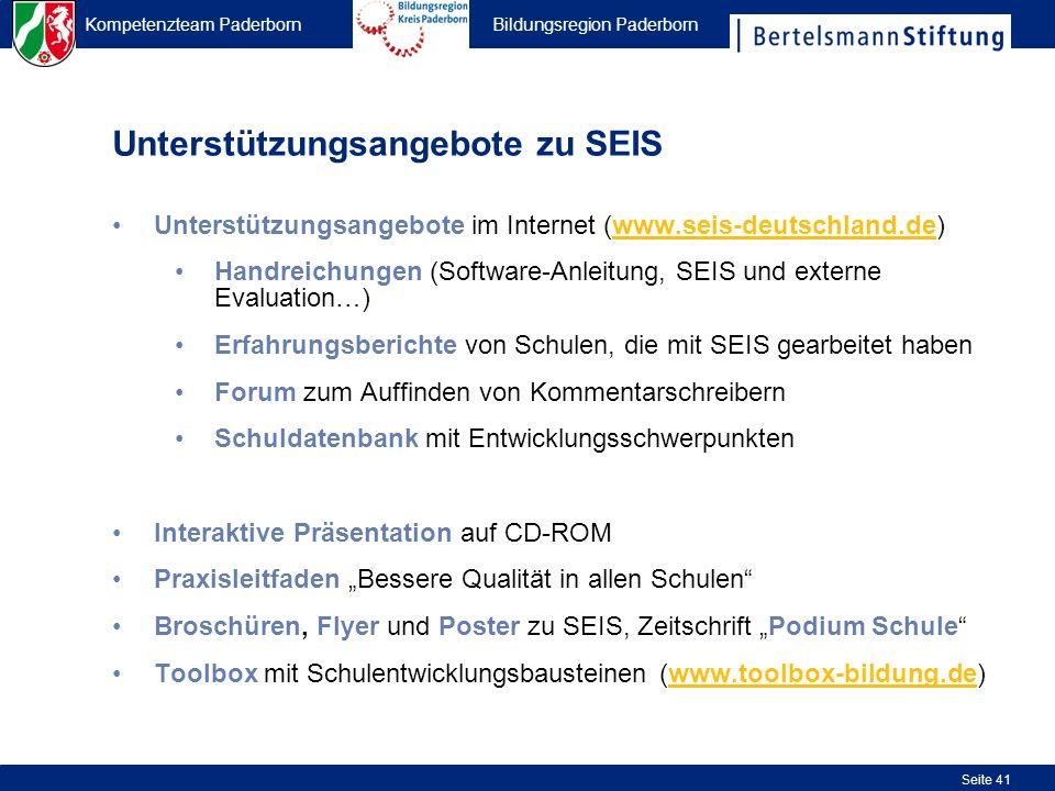 Kompetenzteam Paderborn Bildungsregion Paderborn Seite 41 Unterstützungsangebote im Internet (www.seis-deutschland.de) Handreichungen (Software-Anleit