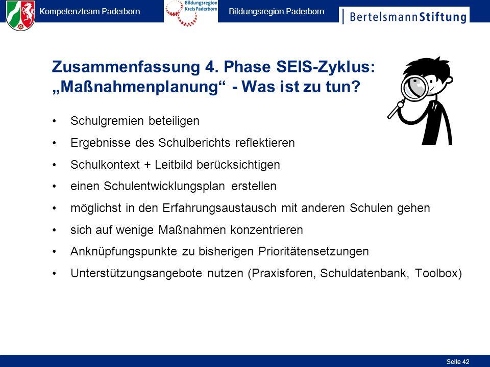 Kompetenzteam Paderborn Bildungsregion Paderborn Seite 42 Zusammenfassung 4. Phase SEIS-Zyklus: Maßnahmenplanung - Was ist zu tun? Schulgremien beteil