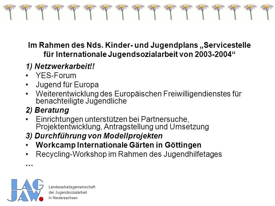 Landesarbeitsgemeinschaft der Jugendsozialarbeit in Niedersachsen Die folgenden internationalen Aktivitäten Workcamp Sievershausen im Rahmen des Nds.