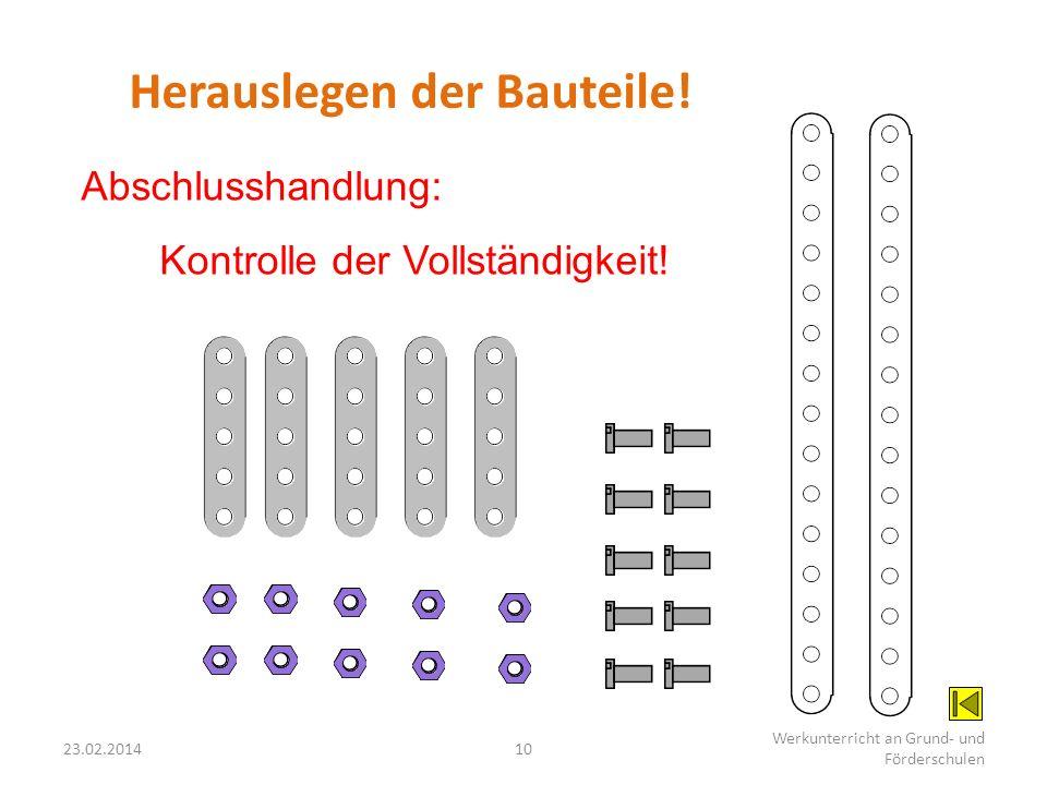 23.02.201410 Werkunterricht an Grund- und Förderschulen Herauslegen der Bauteile! Abschlusshandlung: Kontrolle der Vollständigkeit!