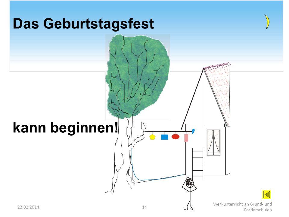 23.02.201414 Werkunterricht an Grund- und Förderschulen Problem gelöst! Das Geburtstagsfest kann beginnen!