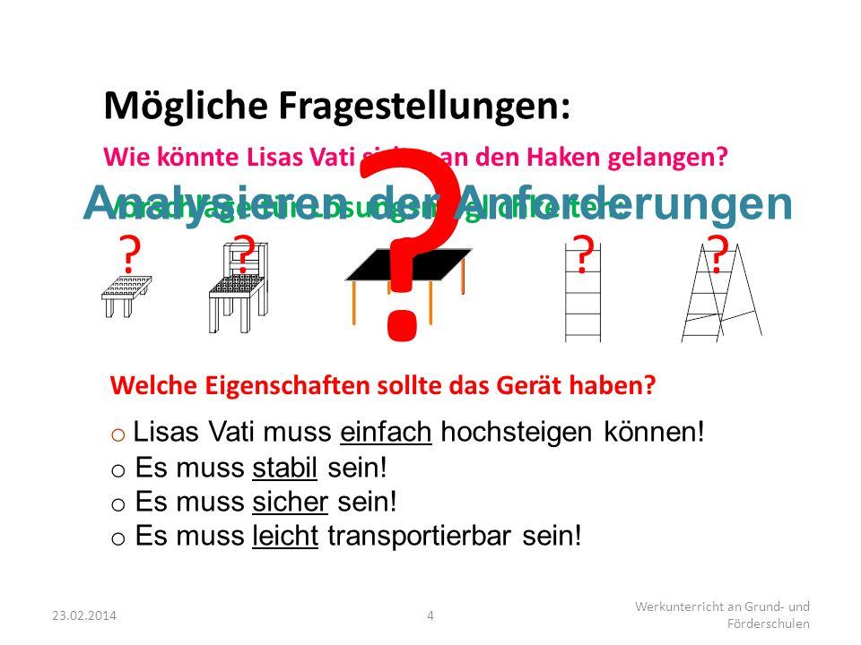 23.02.20144 Werkunterricht an Grund- und Förderschulen Welche Eigenschaften sollte das Gerät haben? o Lo L isas Vati muss einfach hochsteigen können!