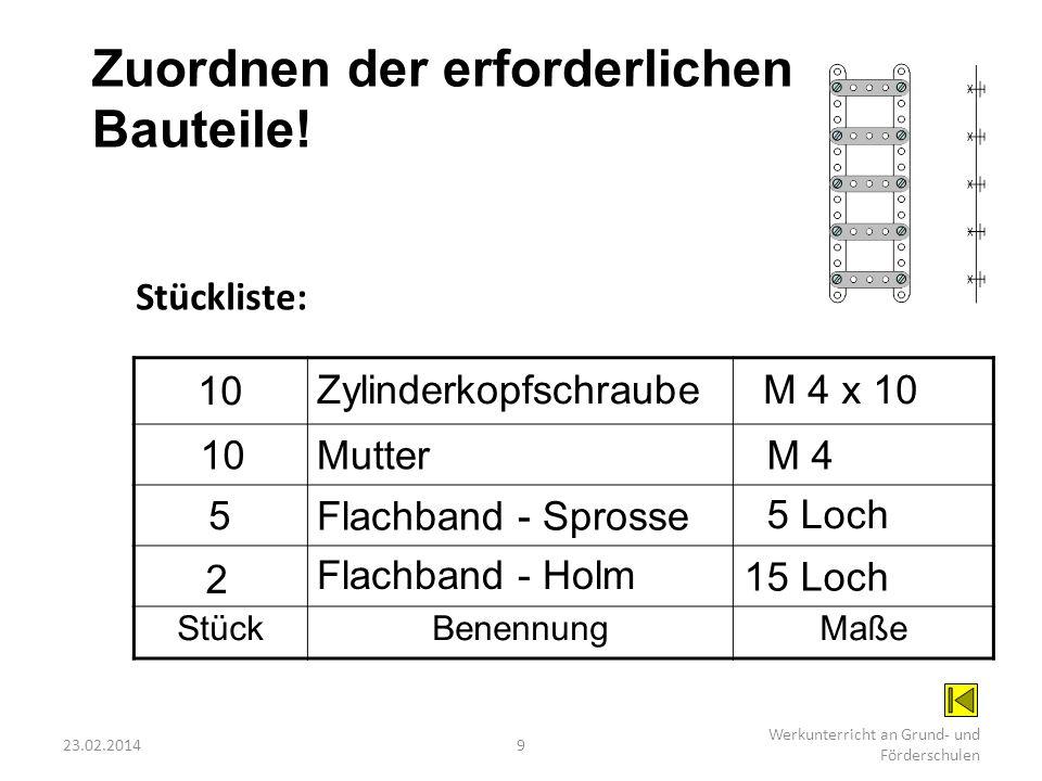 23.02.20149 Werkunterricht an Grund- und Förderschulen Zuordnen der erforderlichen Bauteile! StückBenennungMaße Stückliste: 2 Flachband - Holm 15 Loch