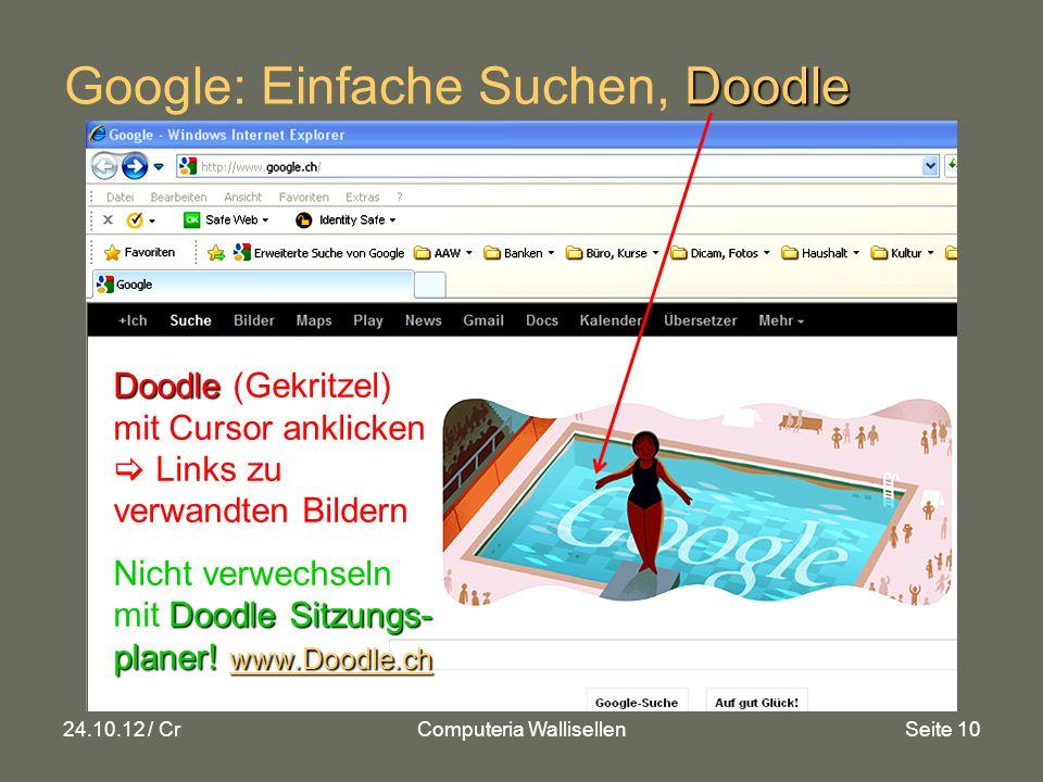 24.10.12 / CrComputeria WallisellenSeite 10 Doodle Google: Einfache Suchen, Doodle Doodle Doodle (Gekritzel) mit Cursor anklicken Links zu verwandten Bildern Doodle Sitzungs- planer.