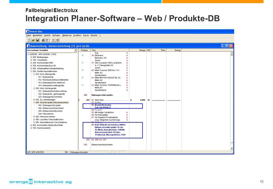 11 Integration Planer-Software – Web / Produkte-DB Fallbeispiel Electrolux