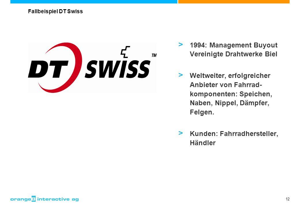 12 > 1994: Management Buyout Vereinigte Drahtwerke Biel > Weltweiter, erfolgreicher Anbieter von Fahrrad- komponenten: Speichen, Naben, Nippel, Dämpfe