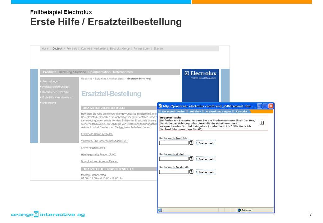 8 Ersatzmarkttipps (Händler-Extranet) Fallbeispiel Electrolux > Dem Händler werden für bestimmte Einbau- standards Ersatzgeräte aus dem aktuellen Sortiment empfohlen