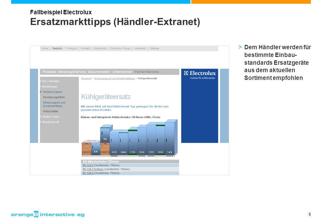 8 Ersatzmarkttipps (Händler-Extranet) Fallbeispiel Electrolux > Dem Händler werden für bestimmte Einbau- standards Ersatzgeräte aus dem aktuellen Sort