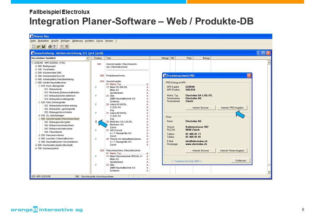 9 Integration Planer-Software – Web / Produkte-DB Fallbeispiel Electrolux