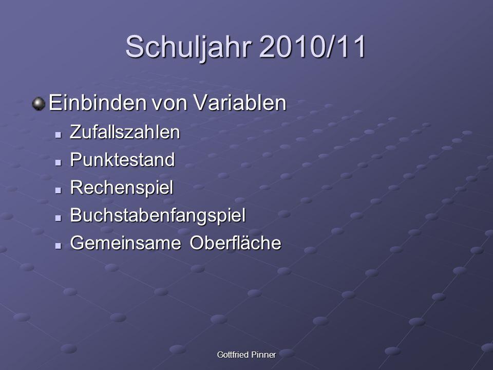 Gottfried Pinner Schuljahr 2010/11 Einbinden von Variablen Zufallszahlen Zufallszahlen Punktestand Punktestand Rechenspiel Rechenspiel Buchstabenfangs