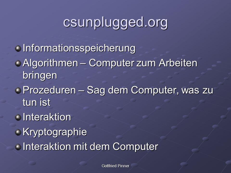 csunplugged.org Informationsspeicherung Algorithmen – Computer zum Arbeiten bringen Prozeduren – Sag dem Computer, was zu tun ist InteraktionKryptogra
