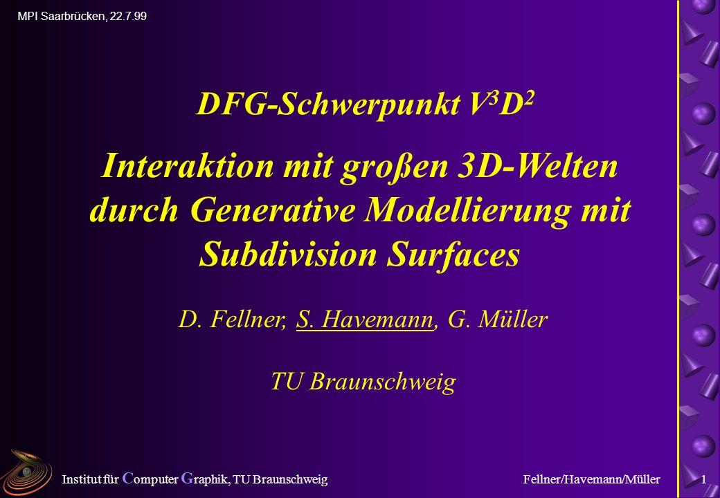 Institut für C omputer G raphik, TU Braunschweig MPI Saarbrücken, 22.7.99 Fellner/Havemann/Müller1 Interaktion mit großen 3D-Welten durch Generative Modellierung mit Subdivision Surfaces D.