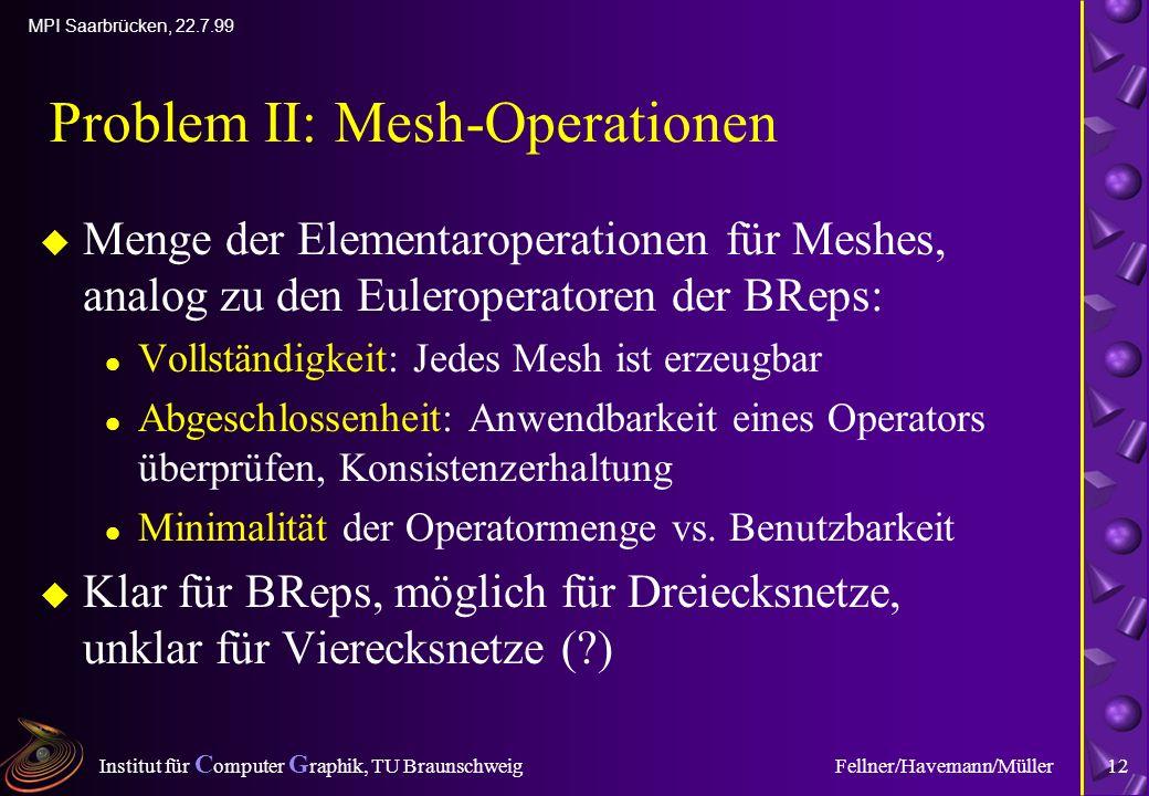 Institut für C omputer G raphik, TU Braunschweig MPI Saarbrücken, 22.7.99 Fellner/Havemann/Müller12 Problem II: Mesh-Operationen u Menge der Elementaroperationen für Meshes, analog zu den Euleroperatoren der BReps: l Vollständigkeit: Jedes Mesh ist erzeugbar l Abgeschlossenheit: Anwendbarkeit eines Operators überprüfen, Konsistenzerhaltung l Minimalität der Operatormenge vs.