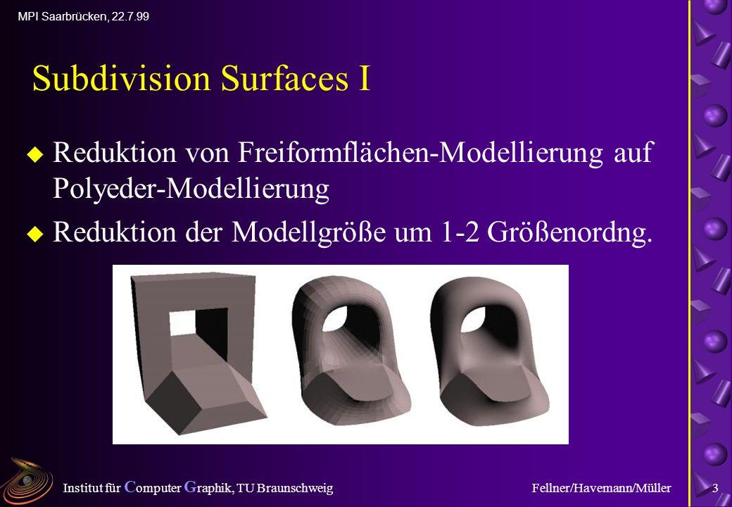 Institut für C omputer G raphik, TU Braunschweig MPI Saarbrücken, 22.7.99 Fellner/Havemann/Müller3 Subdivision Surfaces I u Reduktion von Freiformflächen-Modellierung auf Polyeder-Modellierung u Reduktion der Modellgröße um 1-2 Größenordng.
