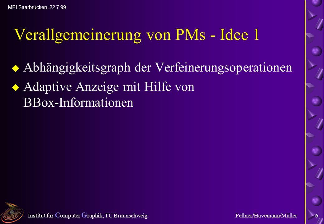 Institut für C omputer G raphik, TU Braunschweig MPI Saarbrücken, 22.7.99 Fellner/Havemann/Müller6 Verallgemeinerung von PMs - Idee 1 u Abhängigkeitsgraph der Verfeinerungsoperationen u Adaptive Anzeige mit Hilfe von BBox-Informationen