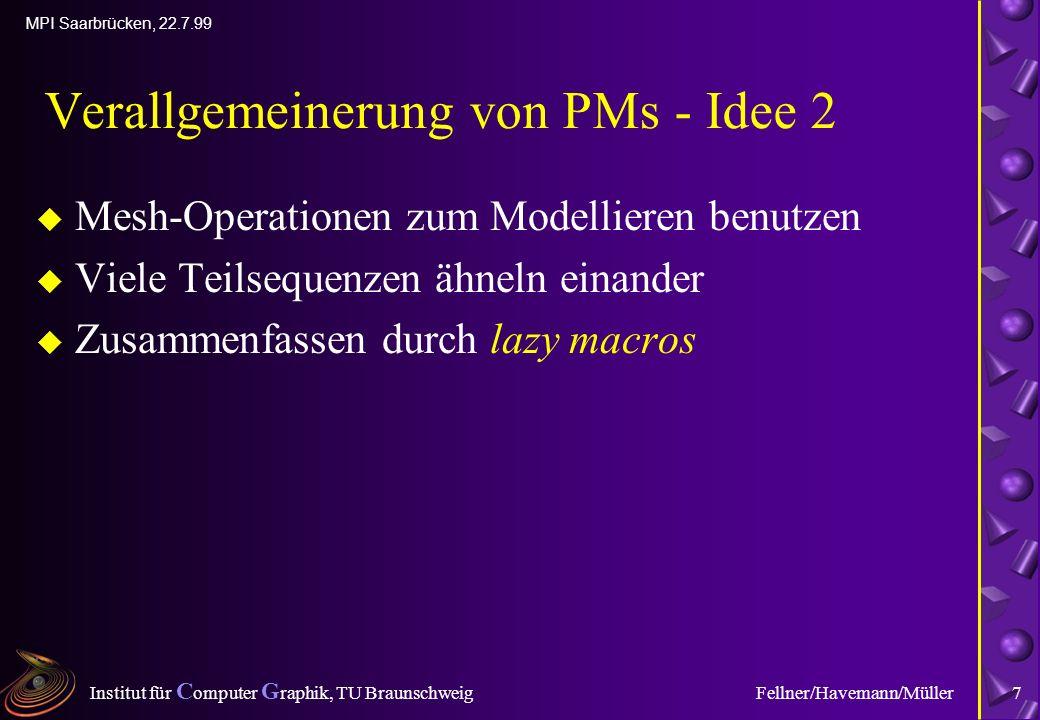 Institut für C omputer G raphik, TU Braunschweig MPI Saarbrücken, 22.7.99 Fellner/Havemann/Müller7 Verallgemeinerung von PMs - Idee 2 u Mesh-Operationen zum Modellieren benutzen u Viele Teilsequenzen ähneln einander u Zusammenfassen durch lazy macros