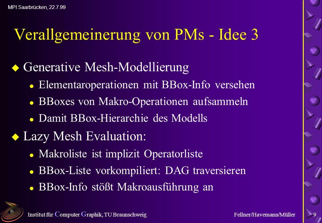 Institut für C omputer G raphik, TU Braunschweig MPI Saarbrücken, 22.7.99 Fellner/Havemann/Müller9 Verallgemeinerung von PMs - Idee 3 u Generative Mesh-Modellierung l Elementaroperationen mit BBox-Info versehen l BBoxes von Makro-Operationen aufsammeln l Damit BBox-Hierarchie des Modells u Lazy Mesh Evaluation: l Makroliste ist implizit Operatorliste l BBox-Liste vorkompiliert: DAG traversieren l BBox-Info stößt Makroausführung an