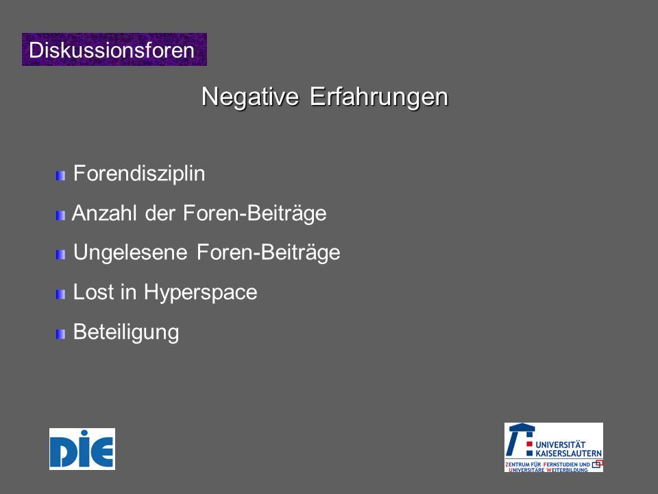 Diskussionsforen Negative Erfahrungen Forendisziplin Anzahl der Foren-Beiträge Ungelesene Foren-Beiträge Lost in Hyperspace Beteiligung