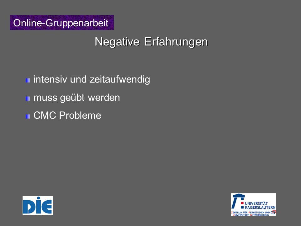 Online-Gruppenarbeit Negative Erfahrungen intensiv und zeitaufwendig muss geübt werden CMC Probleme
