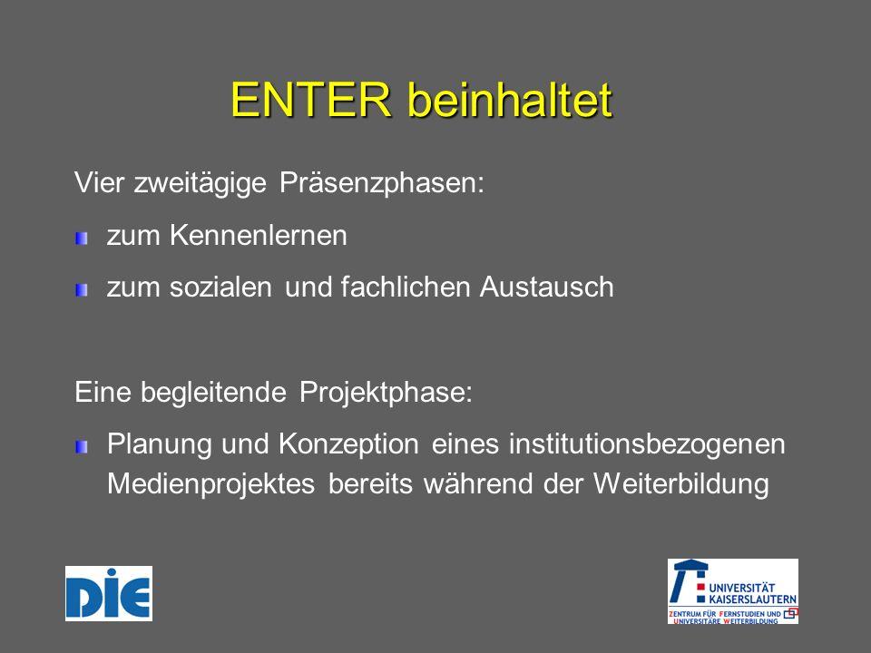 ENTER beinhaltet Vier zweitägige Präsenzphasen: zum Kennenlernen zum sozialen und fachlichen Austausch Eine begleitende Projektphase: Planung und Konz