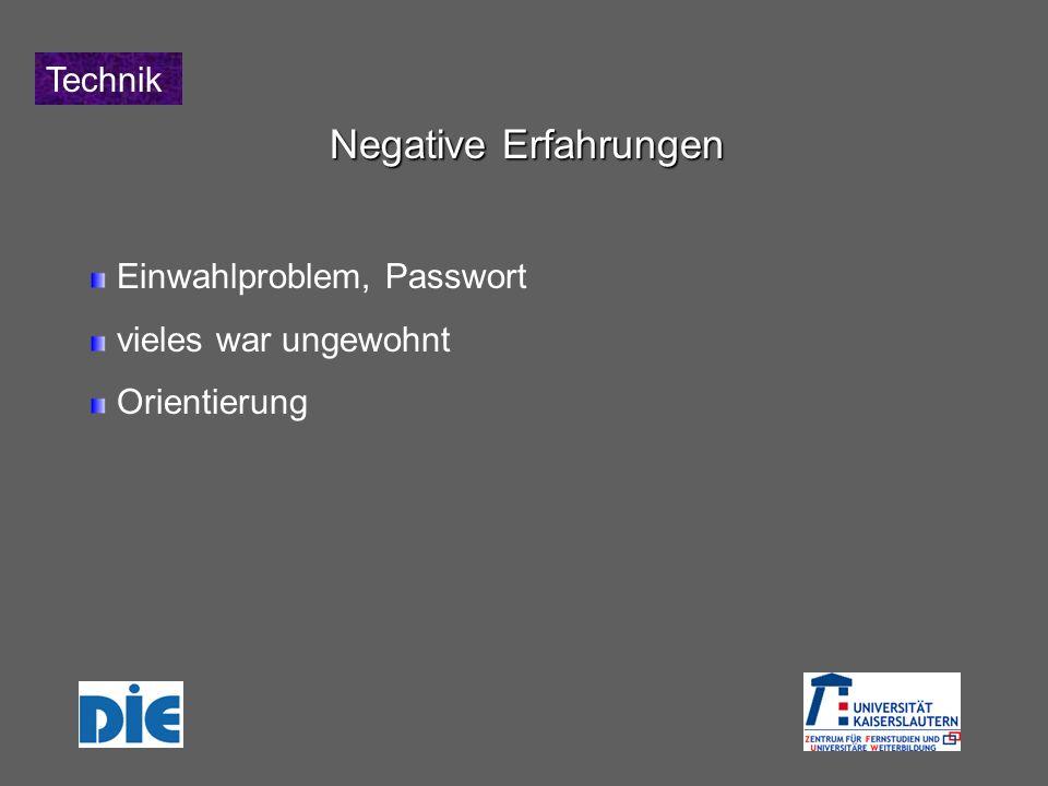 Technik Negative Erfahrungen Einwahlproblem, Passwort vieles war ungewohnt Orientierung