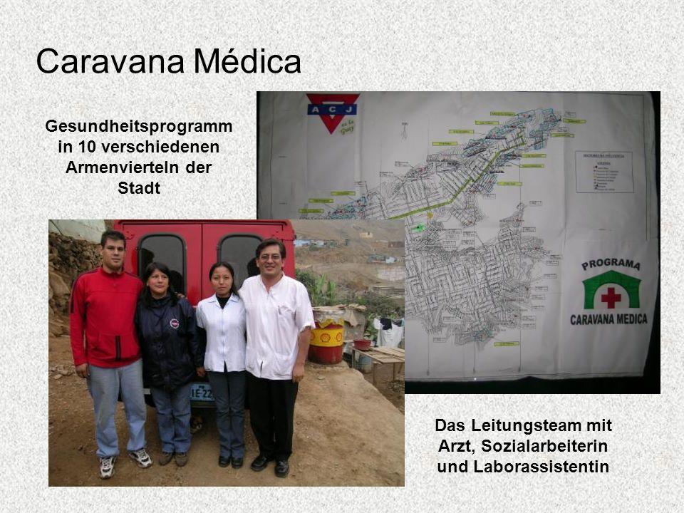 Caravana Médica Gesundheitsprogramm in 10 verschiedenen Armenvierteln der Stadt Das Leitungsteam mit Arzt, Sozialarbeiterin und Laborassistentin