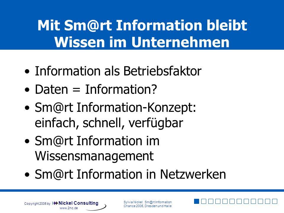 Copyright 2005 by Nickel Consulting Sylvia Nickel: Sm@rt Information Chance 2005, Dresden und Halle www.2nc.de Eine Information, die nichts ändert, ist Ballast – egal, wie effizient sie verwaltet wird!