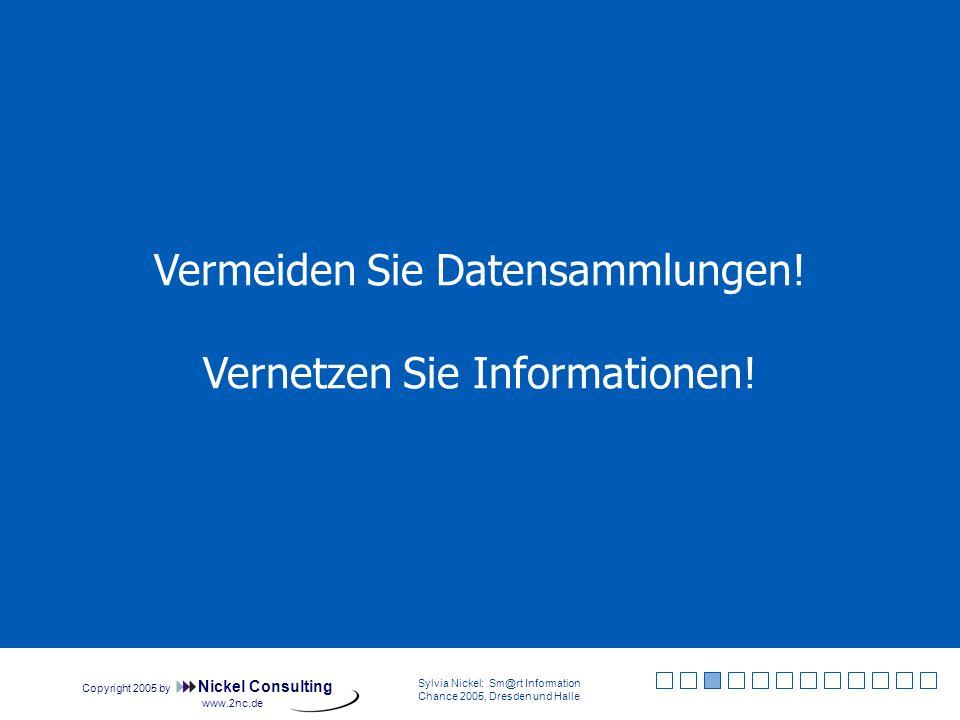 Copyright 2005 by Nickel Consulting Sylvia Nickel: Sm@rt Information Chance 2005, Dresden und Halle www.2nc.de Informationsbedarf Irrelevant (1) Abgrenzungsfehler (2, 3, 5, 6) Informationslücke (4) Tatsächlich gedeckter Bedarf (7) Quelle: Sylvia Nickel: Desk Research, Berlin: Cornelsen 2004, S.