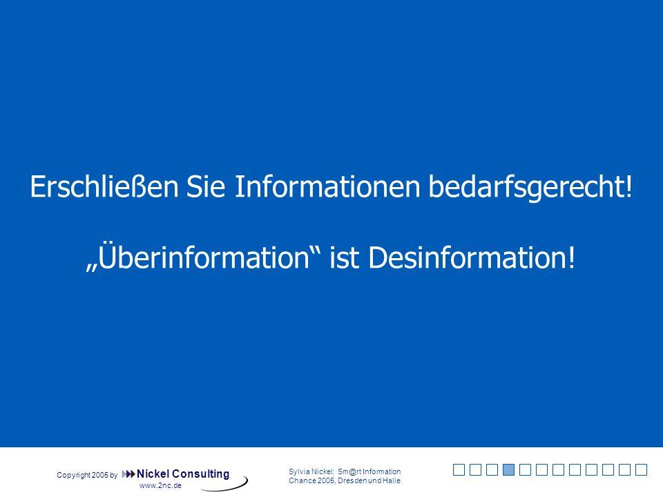 Copyright 2005 by Nickel Consulting Sylvia Nickel: Sm@rt Information Chance 2005, Dresden und Halle www.2nc.de Informationsverzerrungen Quelle: Sylvia Nickel: Desk Research, Berlin: Cornelsen 2004, S.