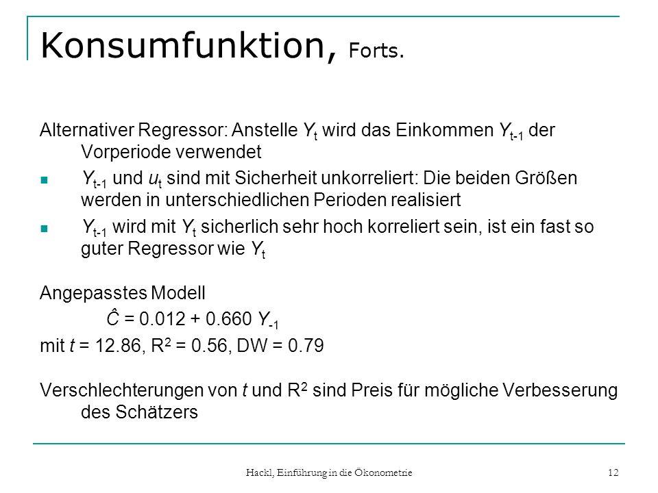 Hackl, Einführung in die Ökonometrie 12 Konsumfunktion, Forts. Alternativer Regressor: Anstelle Y t wird das Einkommen Y t-1 der Vorperiode verwendet