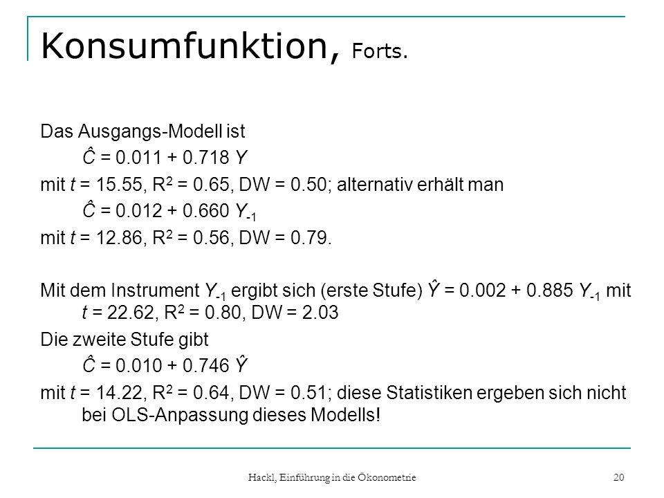 Hackl, Einführung in die Ökonometrie 20 Konsumfunktion, Forts. Das Ausgangs-Modell ist Ĉ = 0.011 + 0.718 Y mit t = 15.55, R 2 = 0.65, DW = 0.50; alter