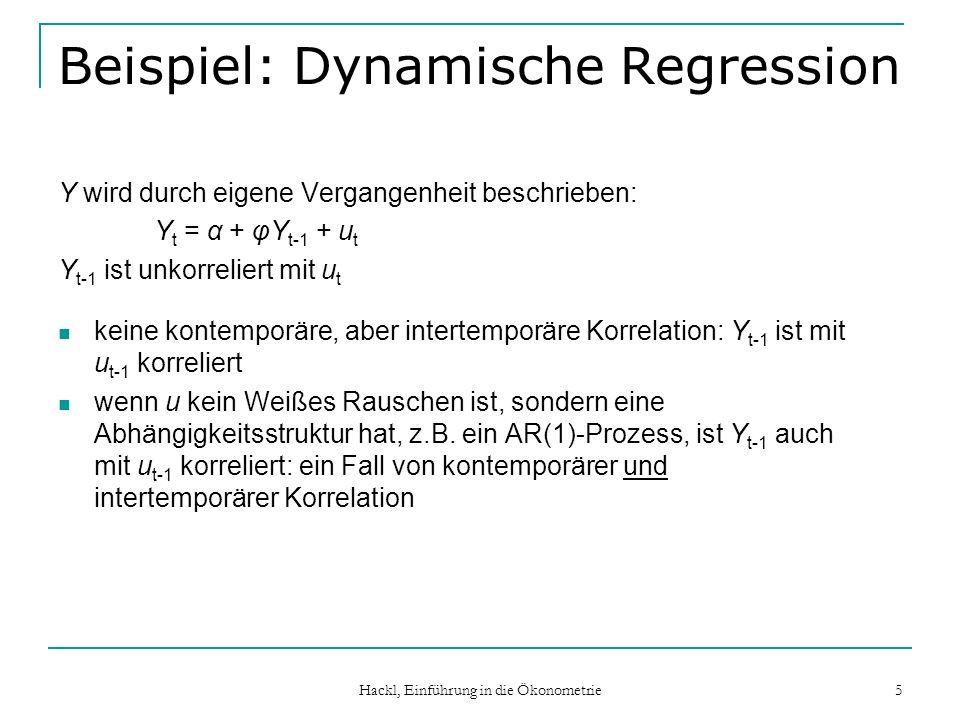 Hackl, Einführung in die Ökonometrie 5 Beispiel: Dynamische Regression Y wird durch eigene Vergangenheit beschrieben: Y t = α + φY t-1 + u t Y t-1 ist
