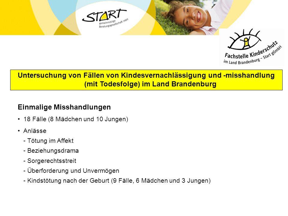 Untersuchung von Fällen von Kindesvernachlässigung und -misshandlung (mit Todesfolge) im Land Brandenburg Einmalige Misshandlungen 18 Fälle (8 Mädchen
