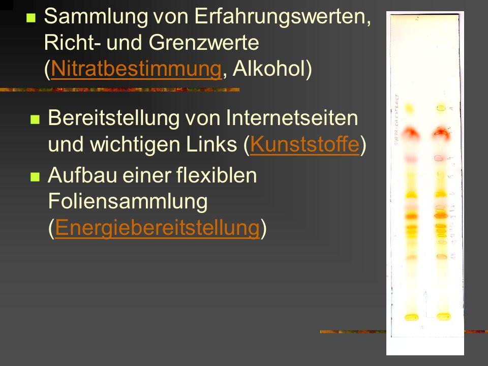 Sammlung von Erfahrungswerten, Richt- und Grenzwerte (Nitratbestimmung, Alkohol)Nitratbestimmung Bereitstellung von Internetseiten und wichtigen Links