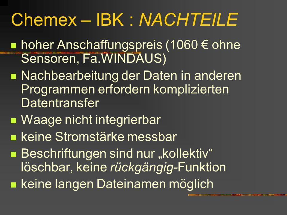 Chemex – IBK : NACHTEILE hoher Anschaffungspreis (1060 ohne Sensoren, Fa.WINDAUS) Nachbearbeitung der Daten in anderen Programmen erfordern komplizier