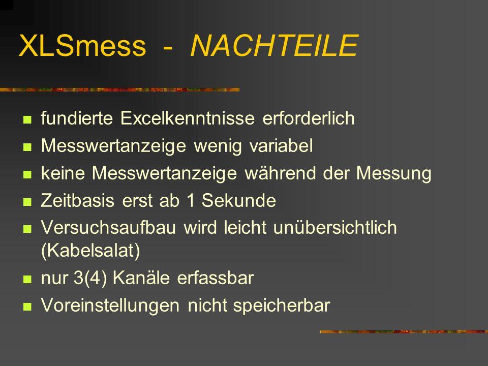 XLSmess - NACHTEILE fundierte Excelkenntnisse erforderlich Messwertanzeige wenig variabel keine Messwertanzeige während der Messung Zeitbasis erst ab