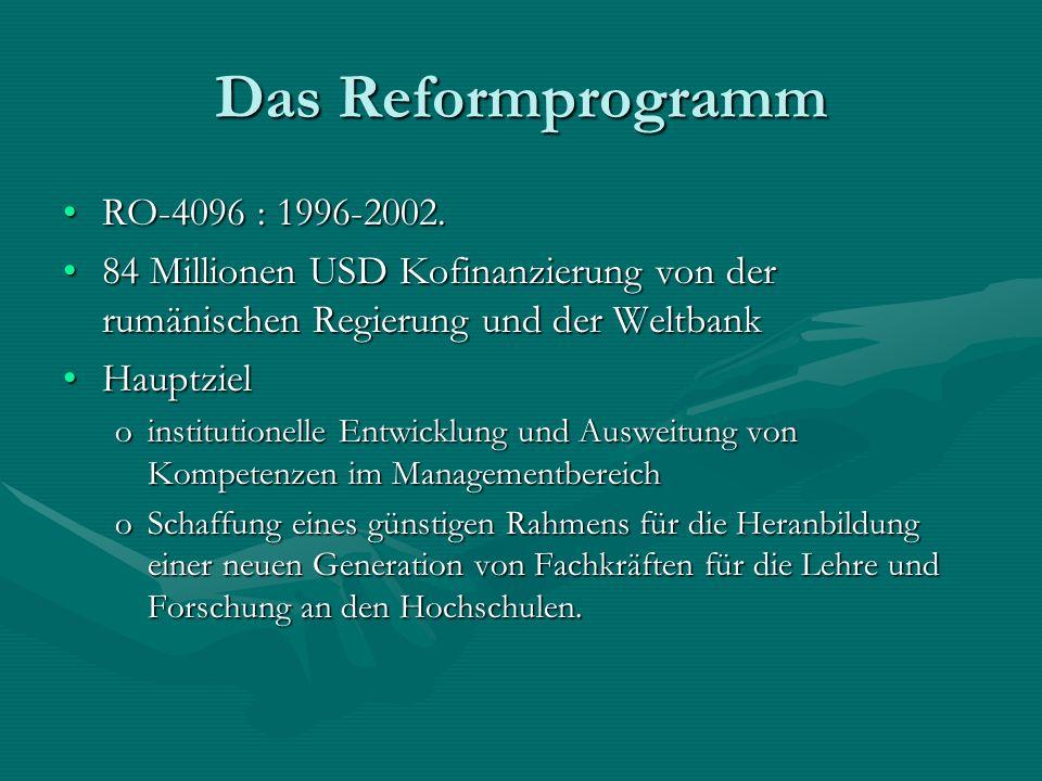 Das Reformprogramm RO-4096 : 1996-2002.RO-4096 : 1996-2002. 84 Millionen USD Kofinanzierung von der rumänischen Regierung und der Weltbank84 Millionen