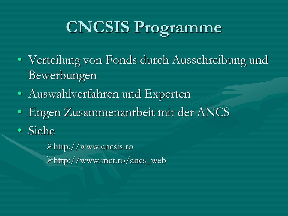 CNCSIS Programme Verteilung von Fonds durch Ausschreibung und BewerbungenVerteilung von Fonds durch Ausschreibung und Bewerbungen Auswahlverfahren und ExpertenAuswahlverfahren und Experten Engen Zusammenanrbeit mit der ANCSEngen Zusammenanrbeit mit der ANCS SieheSiehe http://www.cncsis.ro http://www.cncsis.ro http://www.mct.ro/ancs_web http://www.mct.ro/ancs_web