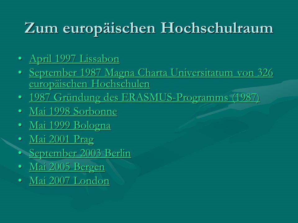 Zum europäischen Hochschulraum April 1997 LissabonApril 1997 Lissabon September 1987 Magna Charta Universitatum von 326 europäischen HochschulenSeptem