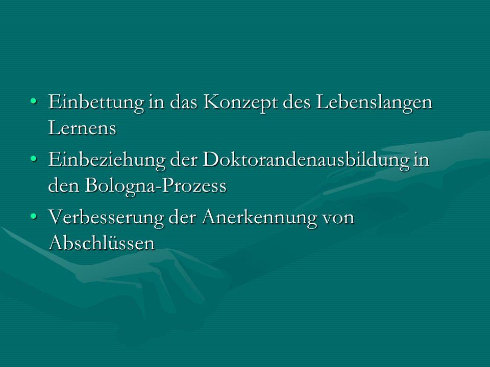 Einbettung in das Konzept des Lebenslangen LernensEinbettung in das Konzept des Lebenslangen Lernens Einbeziehung der Doktorandenausbildung in den Bologna-ProzessEinbeziehung der Doktorandenausbildung in den Bologna-Prozess Verbesserung der Anerkennung von AbschlüssenVerbesserung der Anerkennung von Abschlüssen