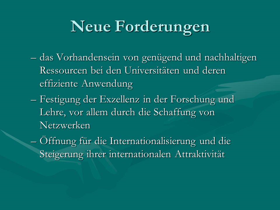 Neue Forderungen –das Vorhandensein von genügend und nachhaltigen Ressourcen bei den Universitäten und deren effiziente Anwendung –Festigung der Exzellenz in der Forschung und Lehre, vor allem durch die Schaffung von Netzwerken –Öffnung für die Internationalisierung und die Steigerung ihrer internationalen Attraktivität