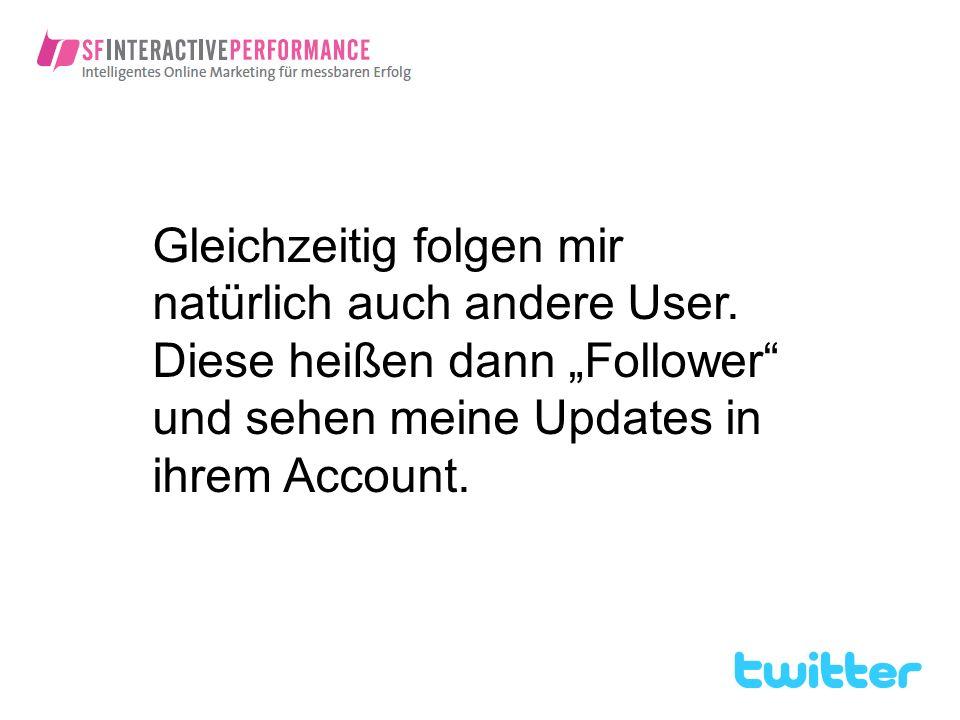 Gleichzeitig folgen mir natürlich auch andere User. Diese heißen dann Follower und sehen meine Updates in ihrem Account.
