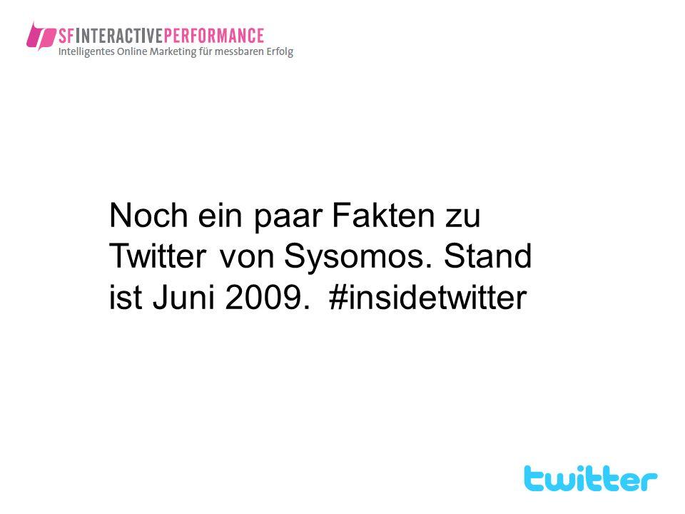 Noch ein paar Fakten zu Twitter von Sysomos. Stand ist Juni 2009. #insidetwitter