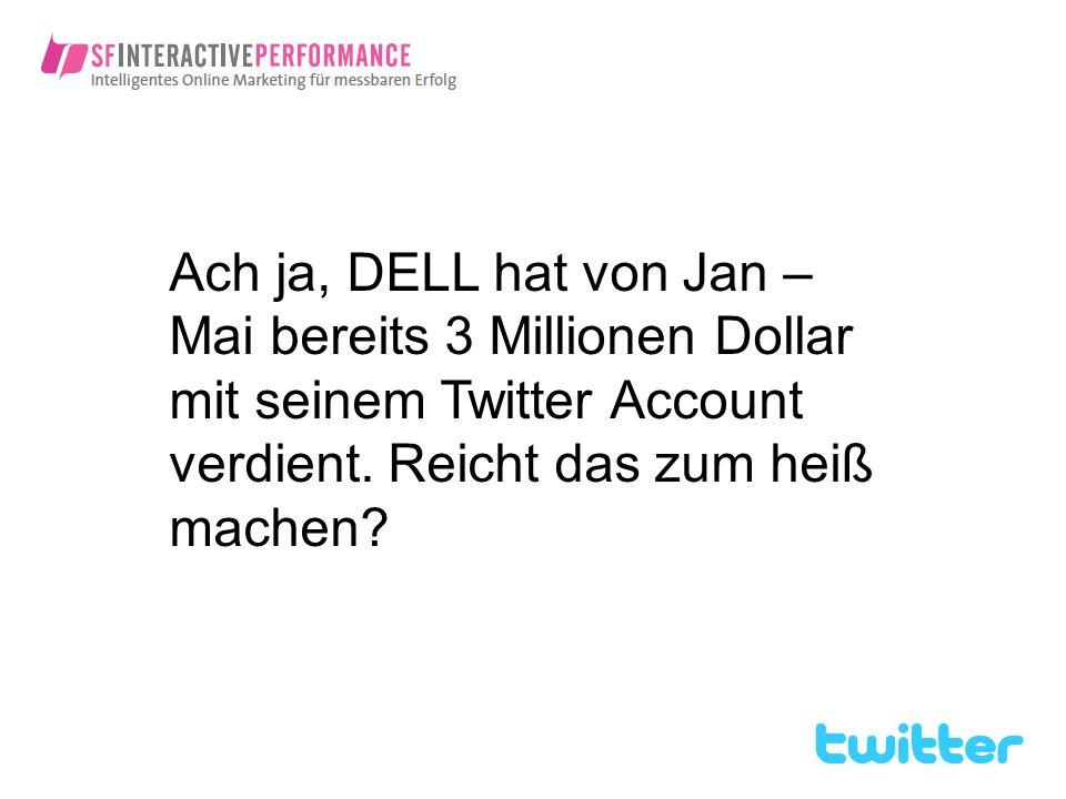 Ach ja, DELL hat von Jan – Mai bereits 3 Millionen Dollar mit seinem Twitter Account verdient. Reicht das zum heiß machen?