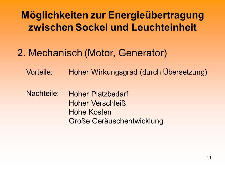 11 Möglichkeiten zur Energieübertragung zwischen Sockel und Leuchteinheit 2. Mechanisch (Motor, Generator) Vorteile:Hoher Wirkungsgrad (durch Übersetz