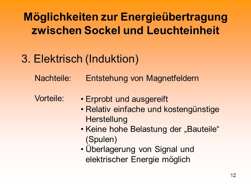 12 Möglichkeiten zur Energieübertragung zwischen Sockel und Leuchteinheit 3. Elektrisch (Induktion) Erprobt und ausgereift Relativ einfache und kosten