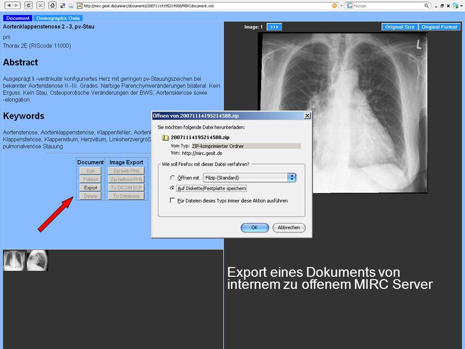 Export eines Dokuments von internem zu offenem MIRC Server