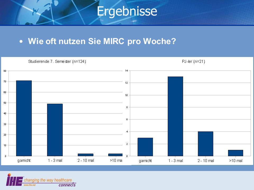 Wie oft nutzen Sie MIRC pro Woche? Ergebnisse